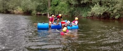 Raft Building On The  River Wye Corporate Team Building Activity Days